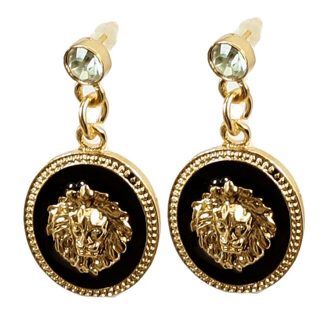 Lady Rhinestone Inlaid Ear Stud Black Gold Tone Dangling Earrings Pair