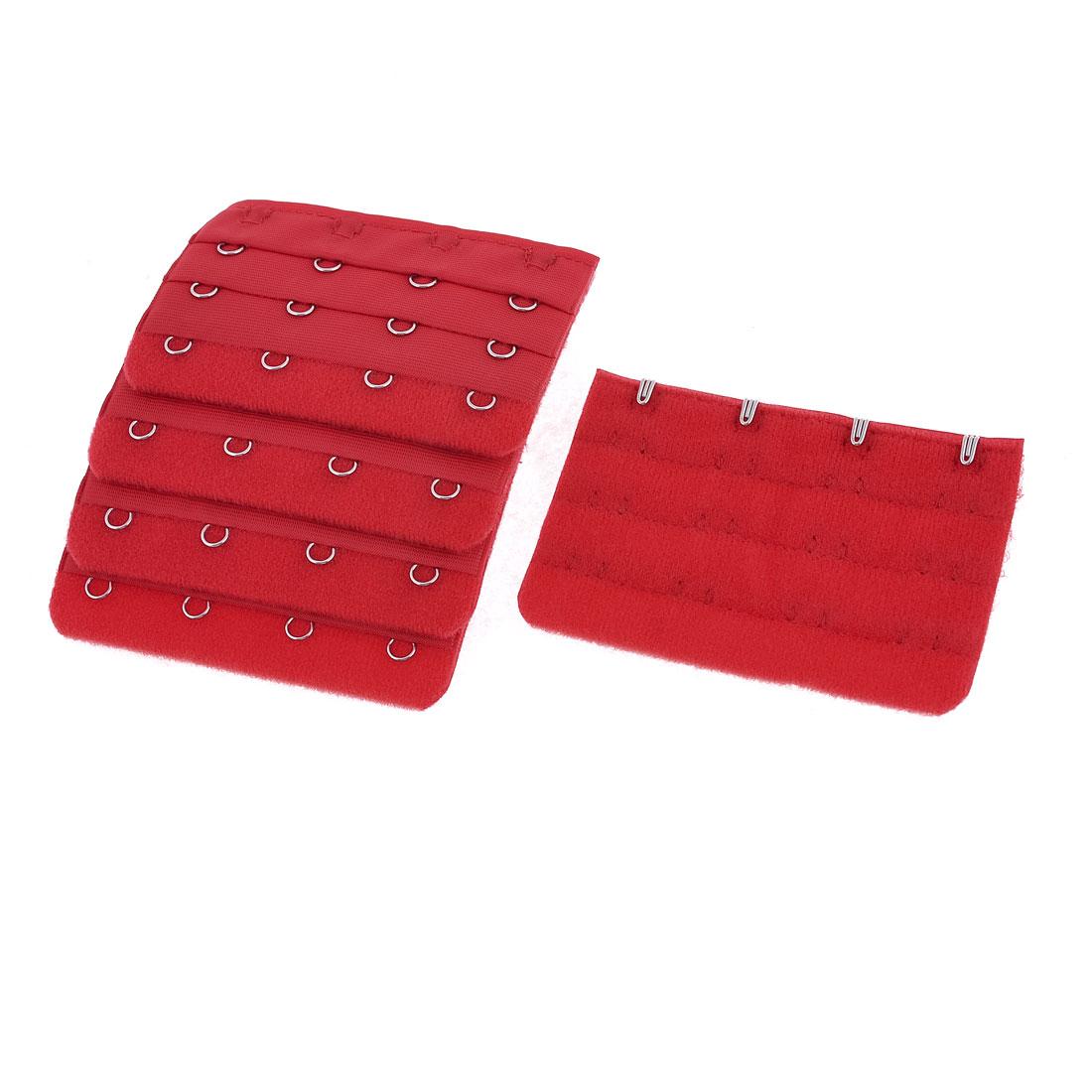 Ladies Underwear Red 3 Rows 4 Position Hooks Bra Strap Extender 5 Pieces