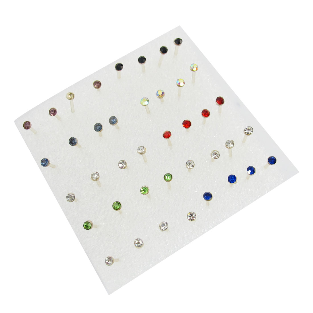 Women Plastic Faux Rhinestone Decor Ear Studs Earrings Colorful 20 Pairs