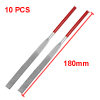 180mm Long Art Craft Flat Diamond Files Grinding Tool Red Silver Tone 10pcs
