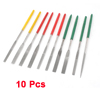 10 x Red Yellow Green Plastic Handgrip Equalling Flat Needle File Set