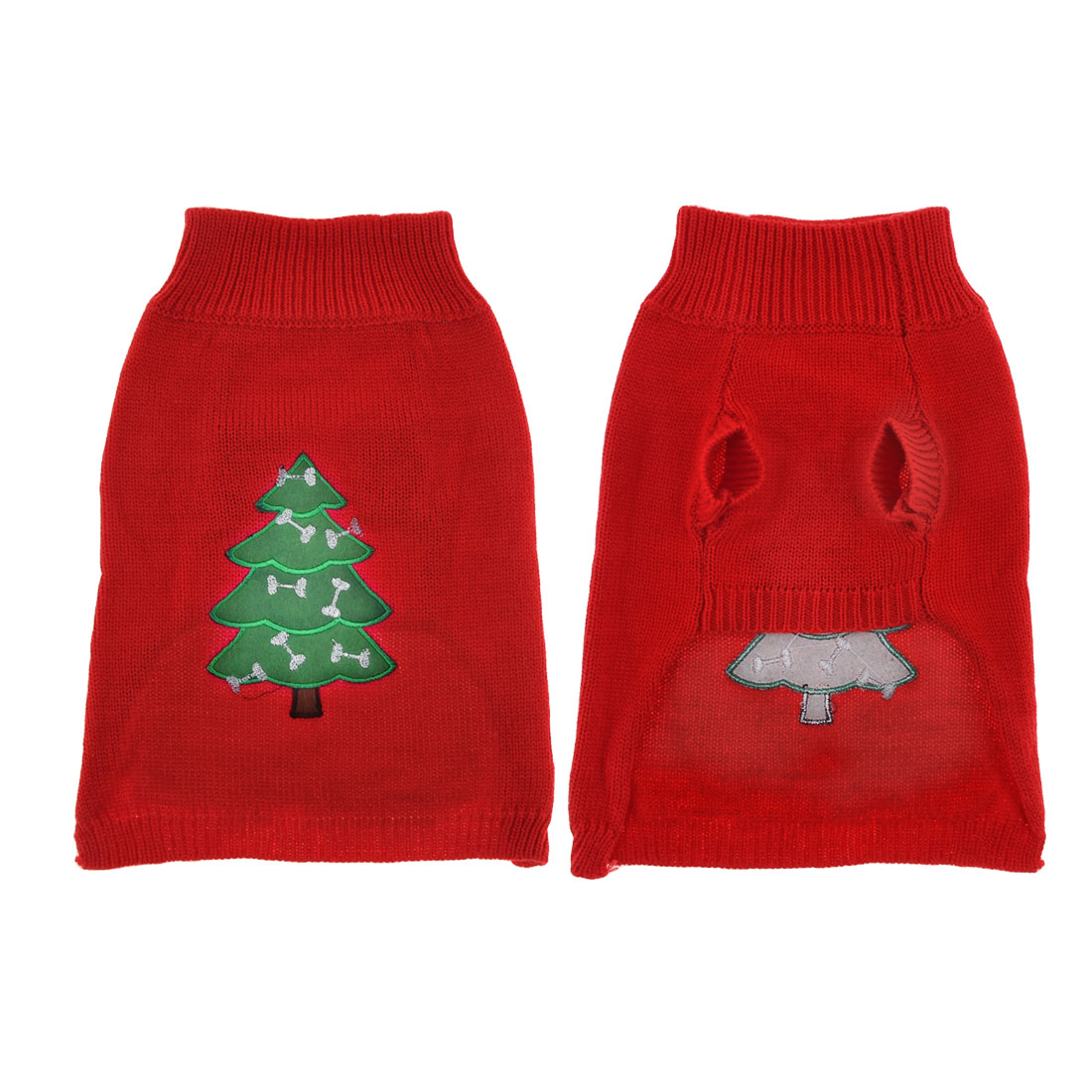 Winter Red Christmas tree Pattern Knit Yorkie Poodle Clothing Sweater S