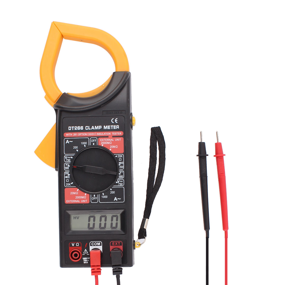 Volt Amplifier Ohm Meter Multimeter Digital Clamp Meter w 66cm Test Probe Leads