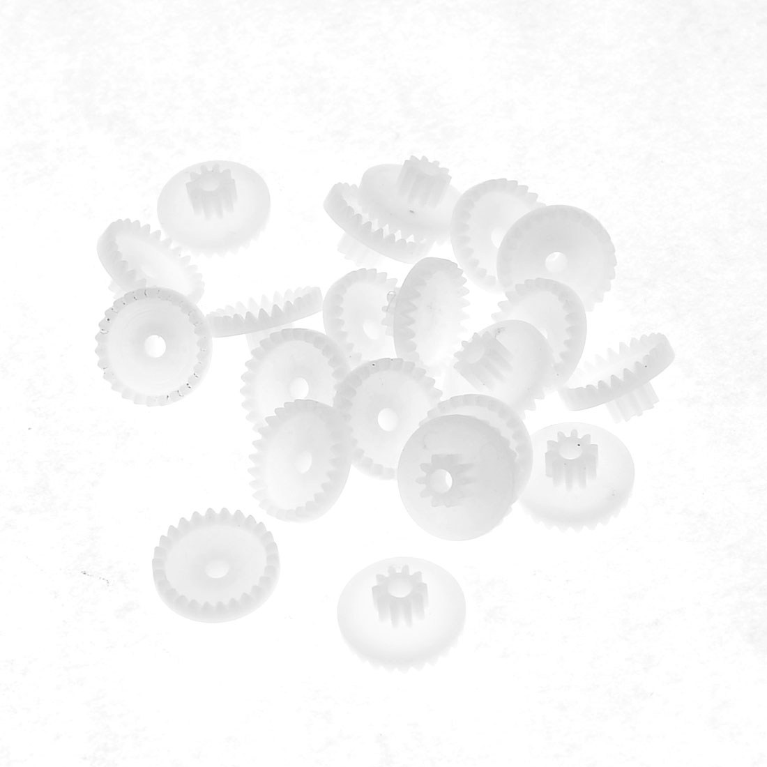 20 Pcs White Plastic Robot Auto Model Crown Wheel Gears 14mm Dia