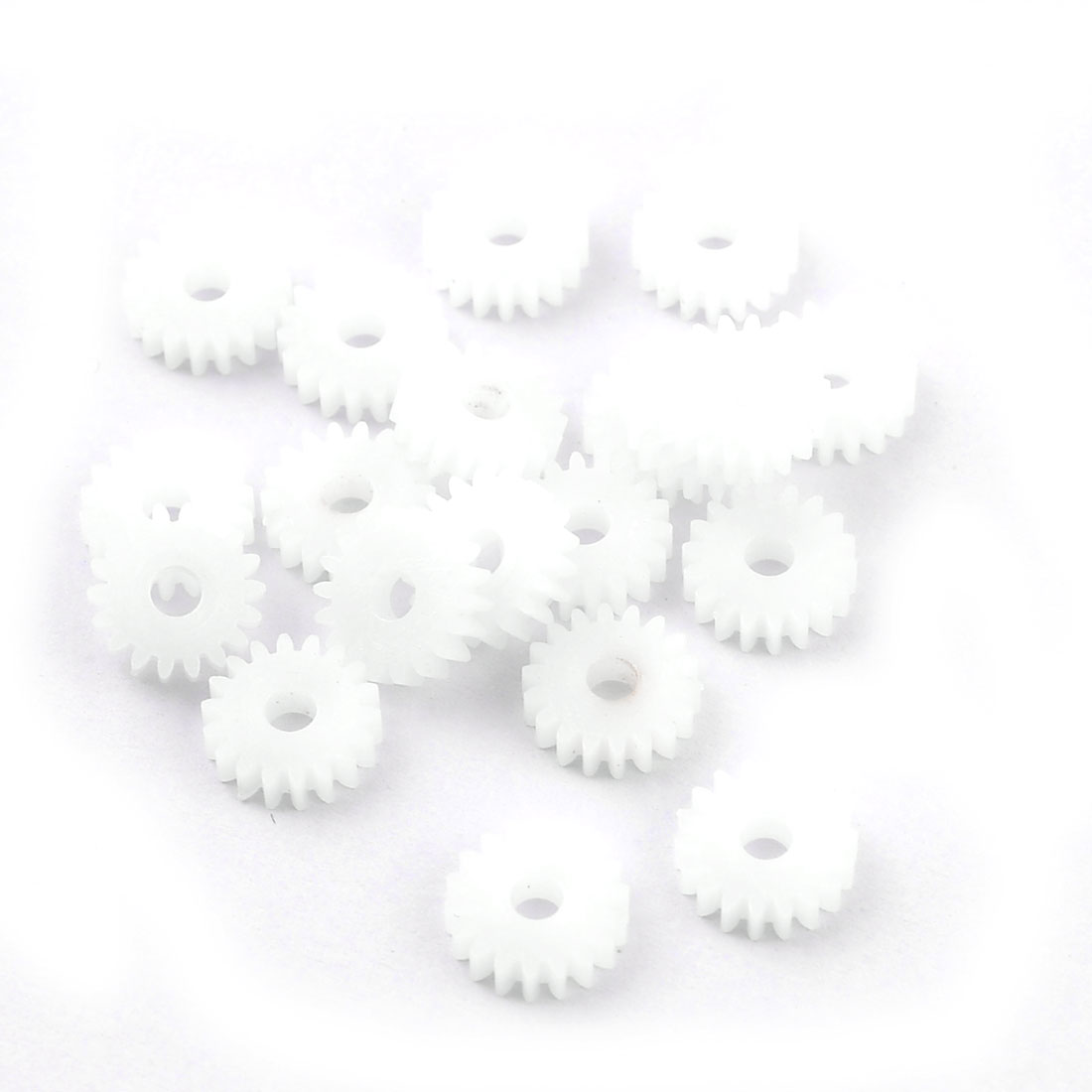 20 Pcs White Plastic 10 x 3mm 10mm Diameter Wheel Toothed Gears