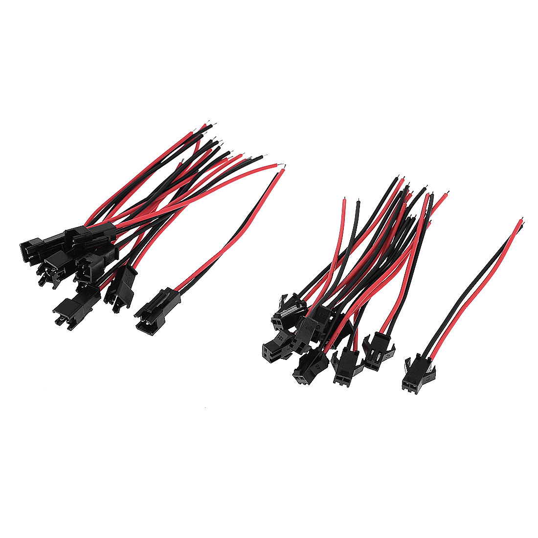 10 Pcs Black Red 8cm Length 2 Terminals EL Wire Cable Connectors