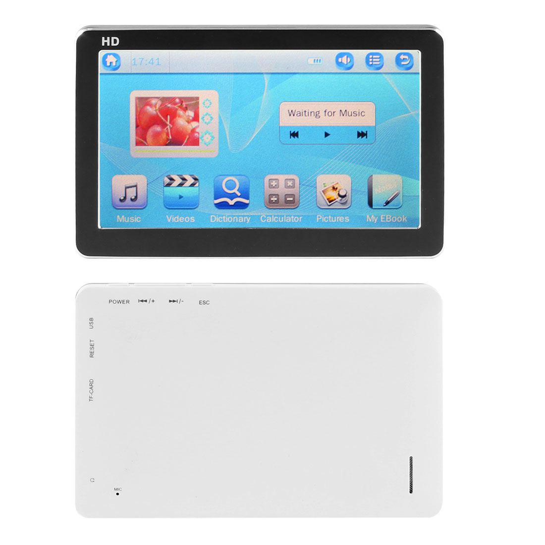 "US Plug 110V-250V 16GB 4.3"" HD Touch Screen MP3 MP4 MP5 RMVB FLV TV Out Player 1080P White Black"