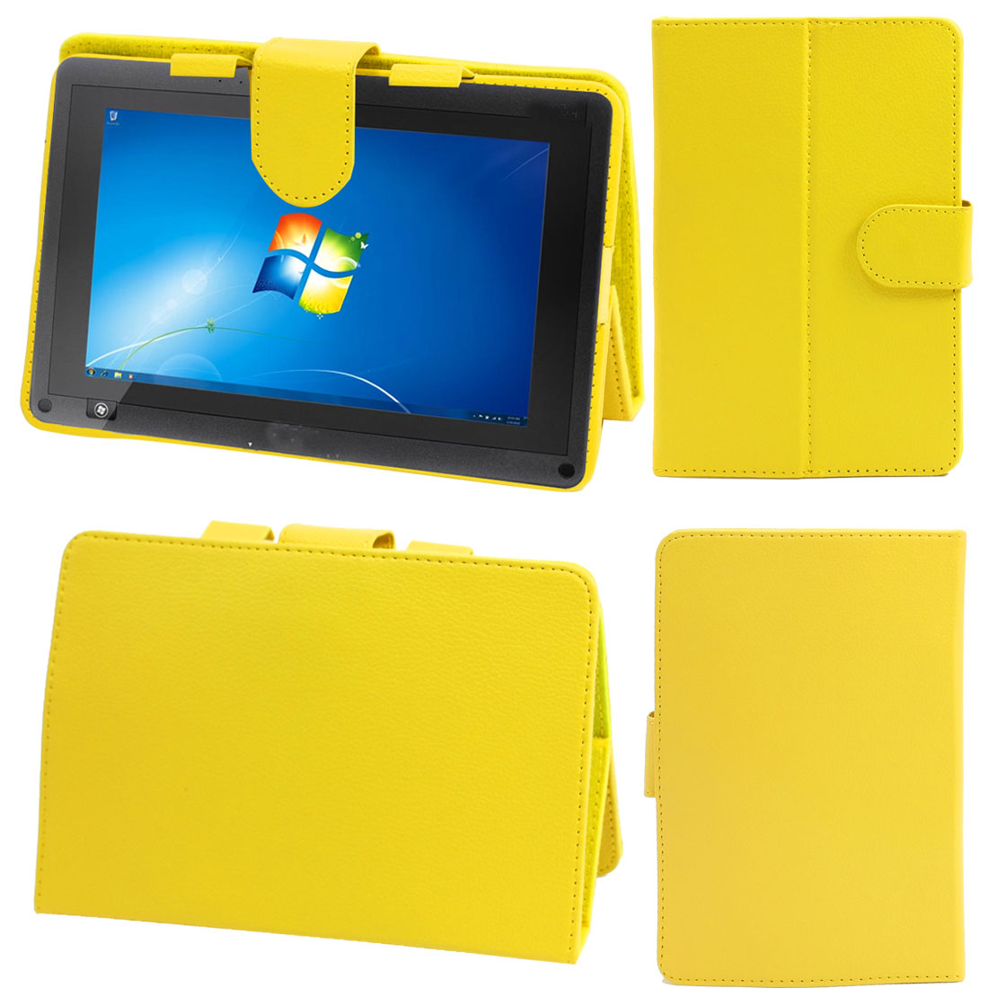 "Yellow Faux Leather Foldable Folio Case Cover for 7"" Laptop Tablet"