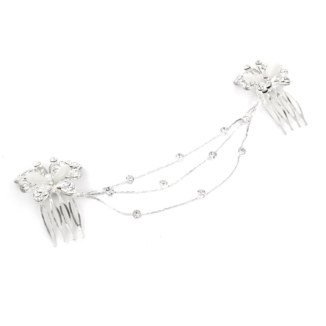 Plastic Clear Rhinestones Agate Butterfly Double Hair Comb Chain Clip