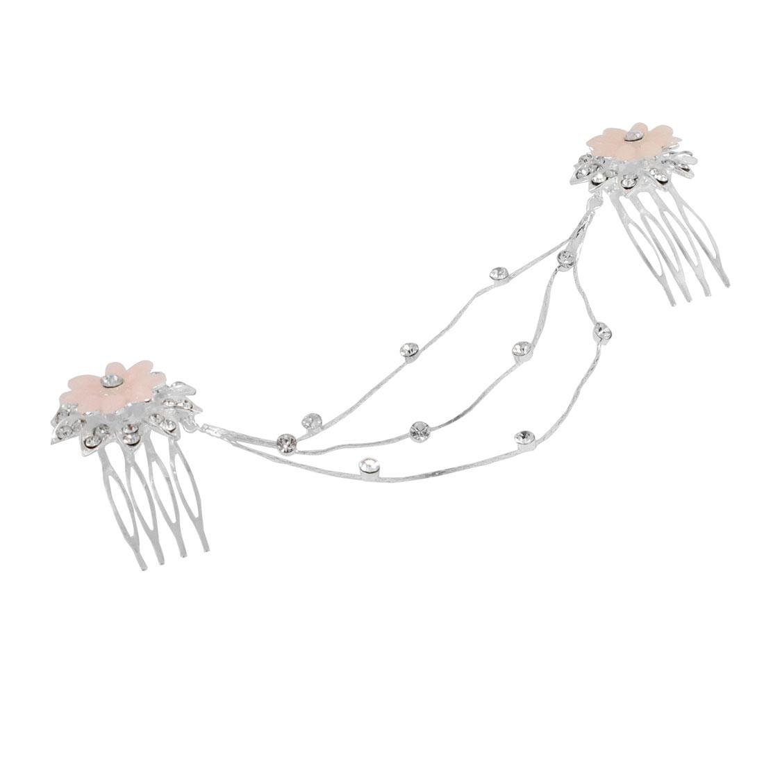 Plastic Rhinestones Pale Pink Petals Flower Shape Double Hair Comb Chain Clip