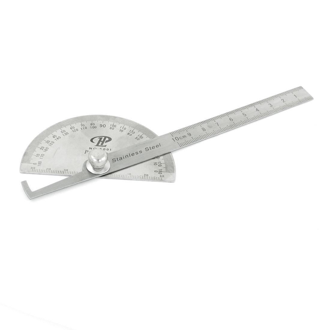 Gray Metal Rotating 180 Degree Mesure Protractors Metric 10cm Ruler