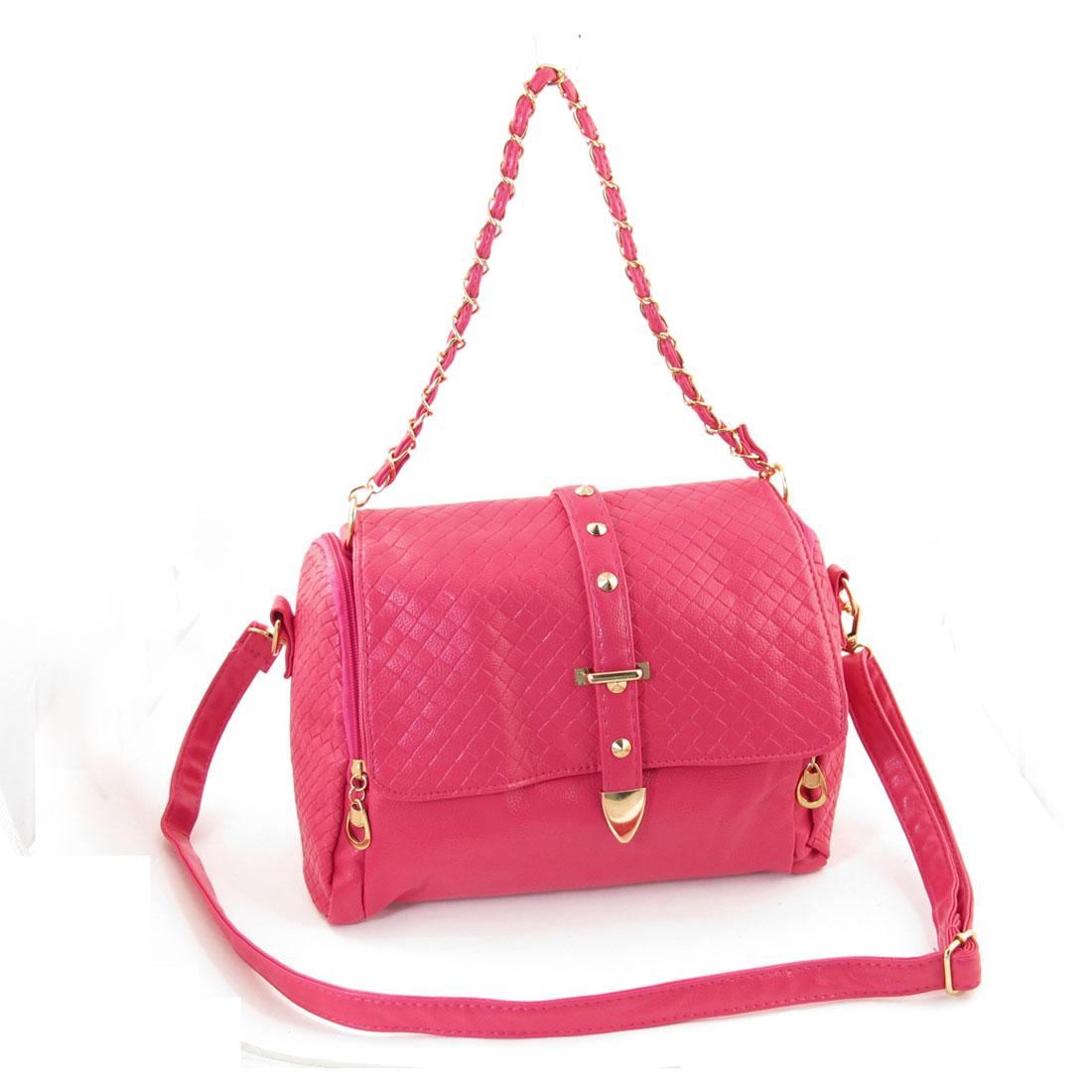 Zip Up Pockets Detachable Lobster Clasp Shoulder Strap Handbag Fuchsia for Women