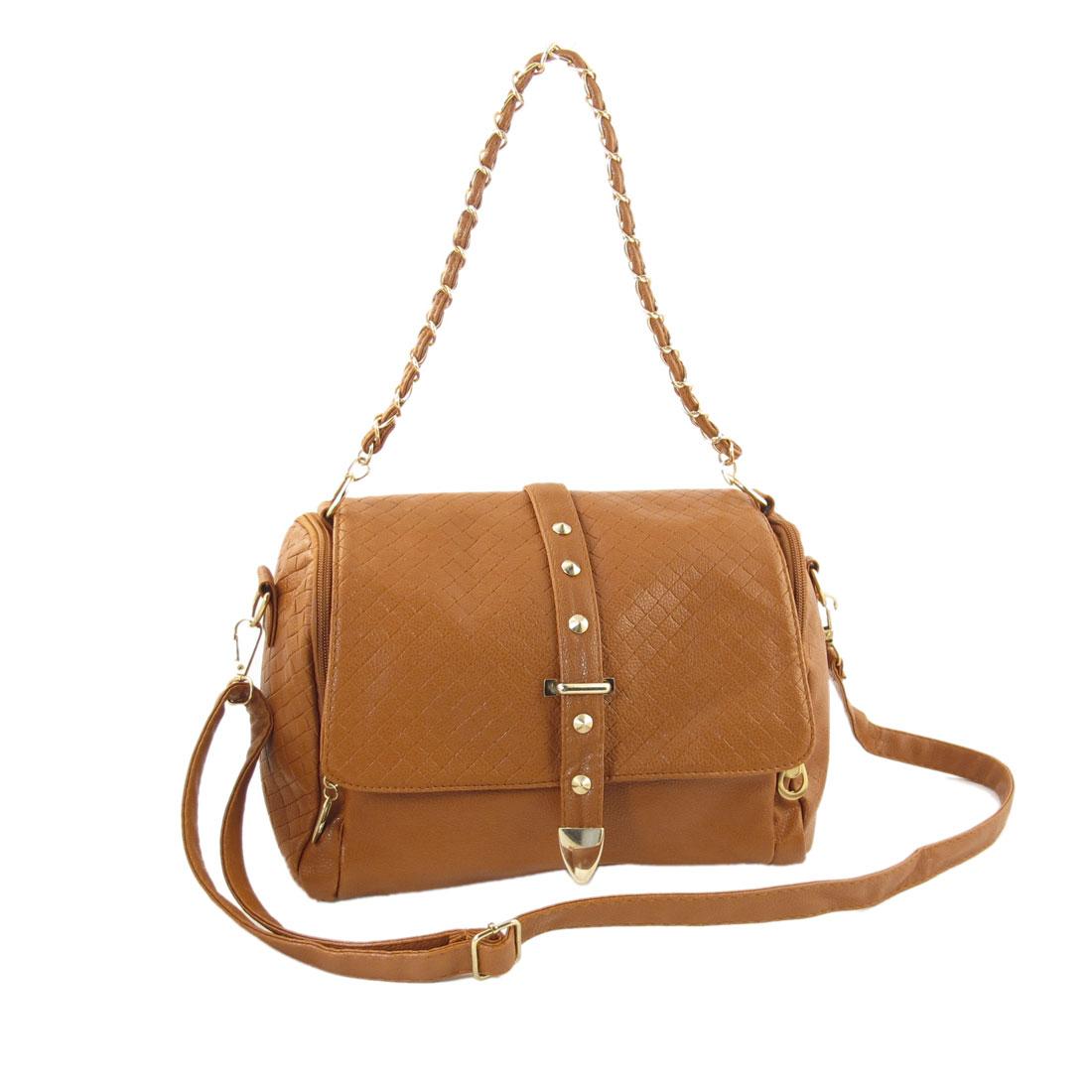 Ladies Brown Faux Leather Braid Pattern Metal Chain Tape Shoulder Bag Handbag