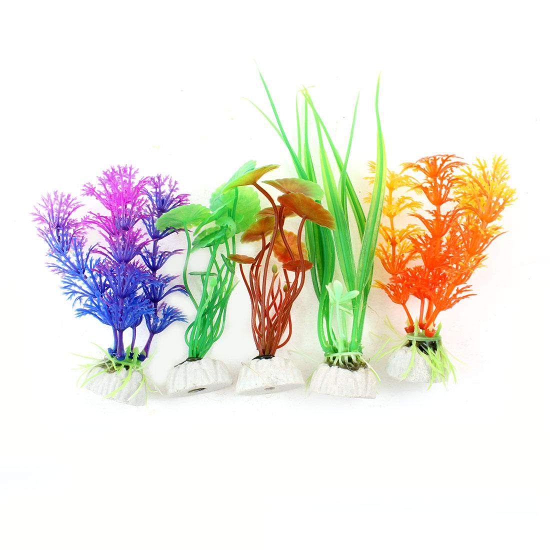 "5 Pcs 6.3"" High Simulation Aquatic Water Grasses Assorted Color for Fish Tank"