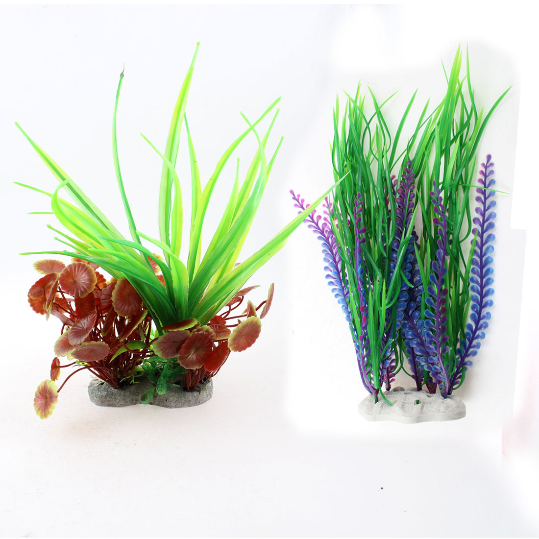 "10.4"" Assorted Color Plastic Emulational Aquatic Grasses for Aquarium 2 Pcs"