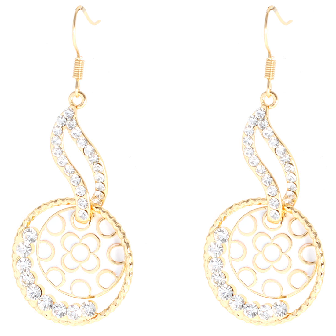 Rhinestone Decorated Circular Intersected Leaf Shaped Earrings