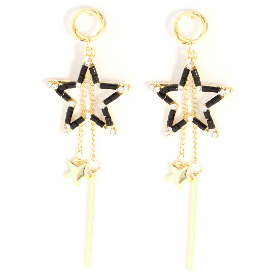 Gold Tone Black Star Linear Pendant Earrings for Lady