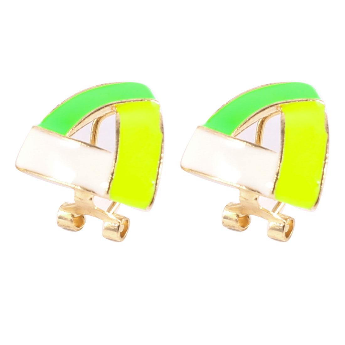 Gold Tone Triangular Shaped Mini French Clip Earrings