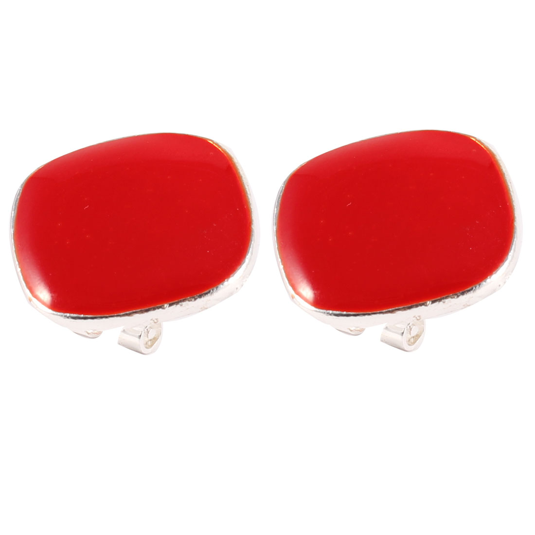 Attractive Red Silver Tone French Clip Earrings for Lady Woman