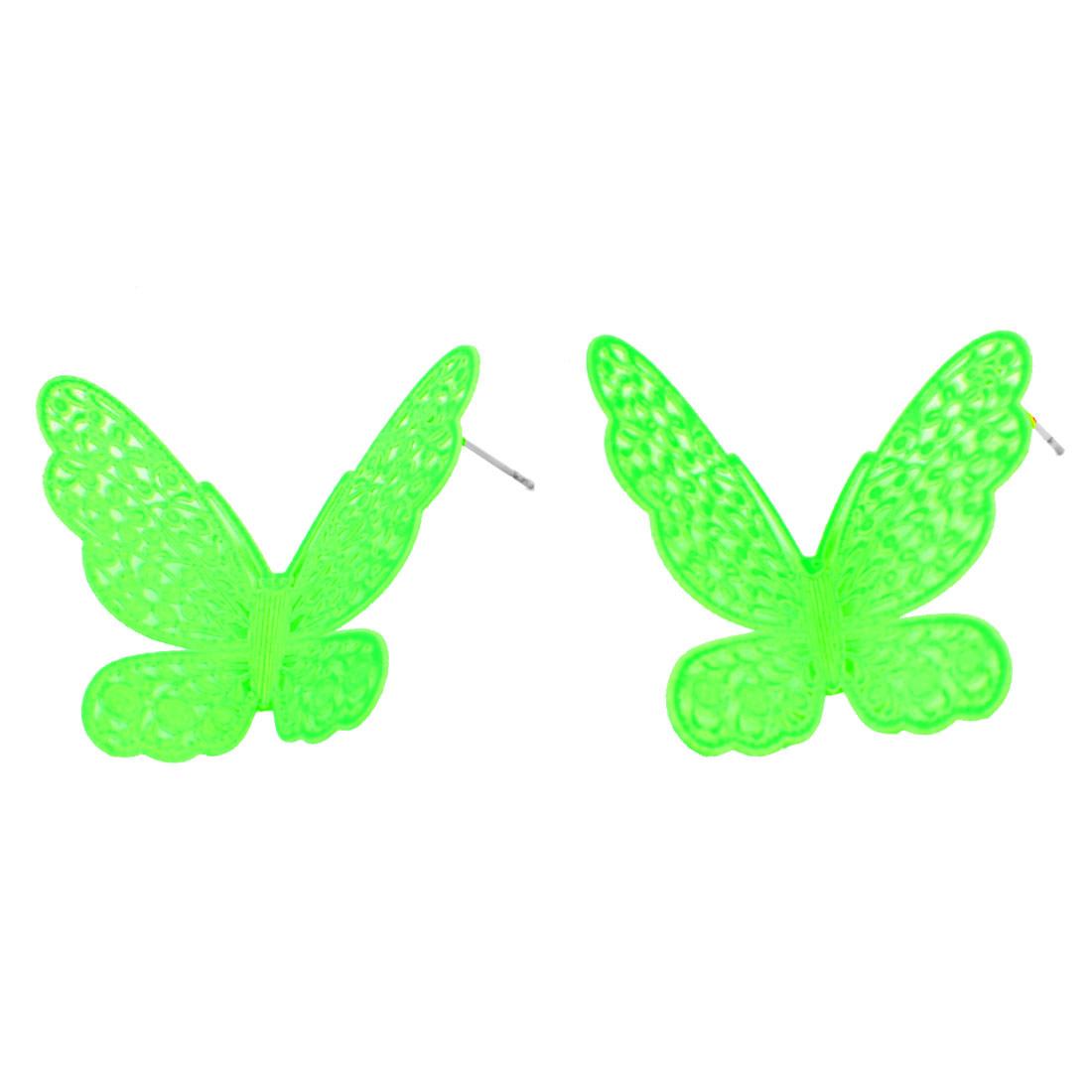Pair Ear Decor Green Butterfly Design Shaped Earrings Ear Ring for Lady