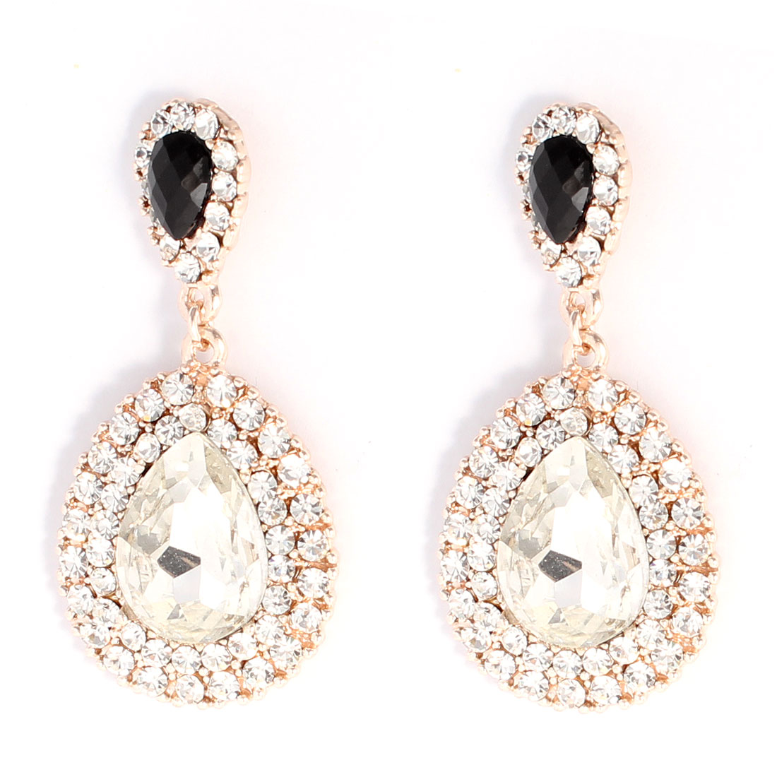 Fashion Ellipse Rhinestone Ornamented Glittery Dangling Earrings