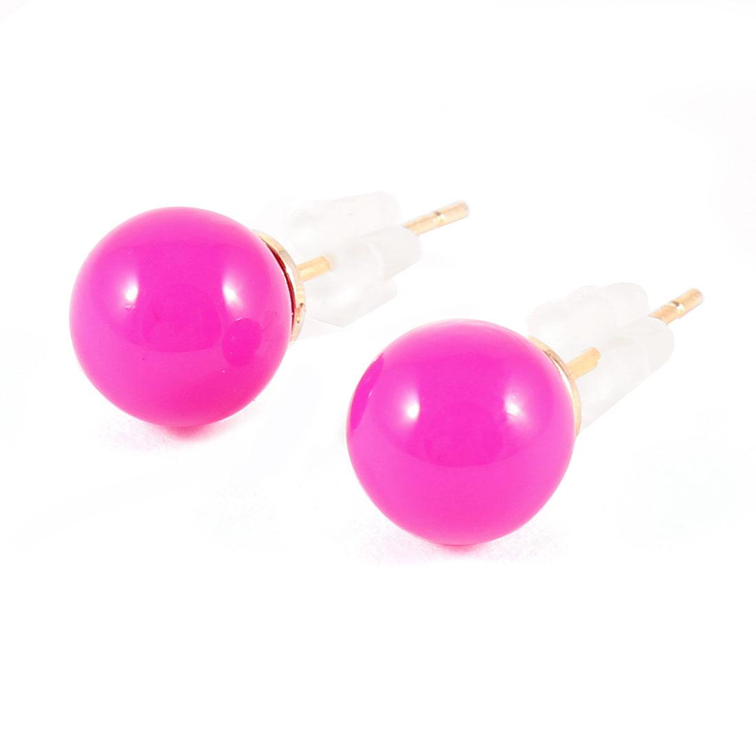 Pair Fuchsia Plastic Ball Shaped Bead Decor Stud Earrings
