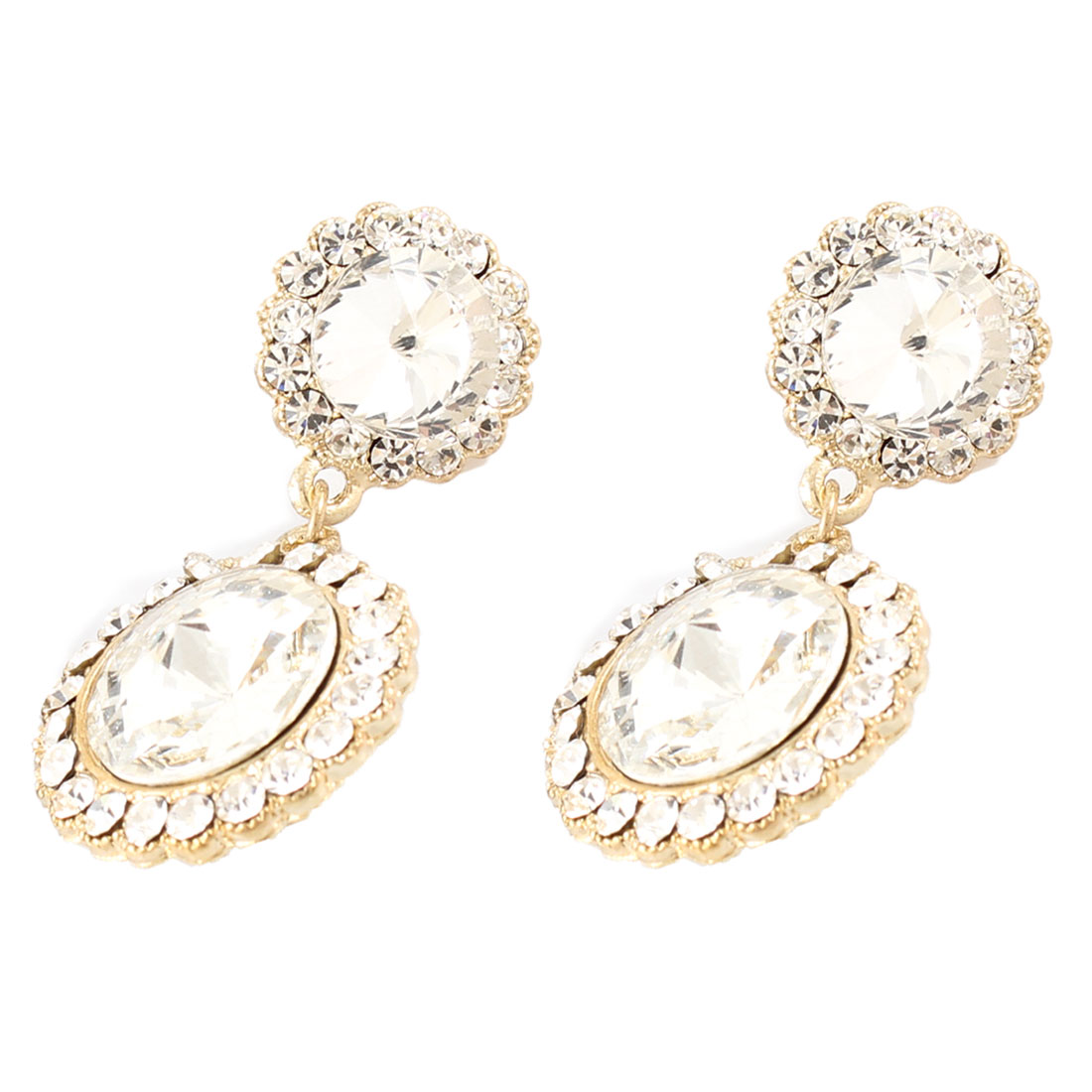 Ladies Gold Tone Glittery Rhinestone Decor Stud Earrings Pair