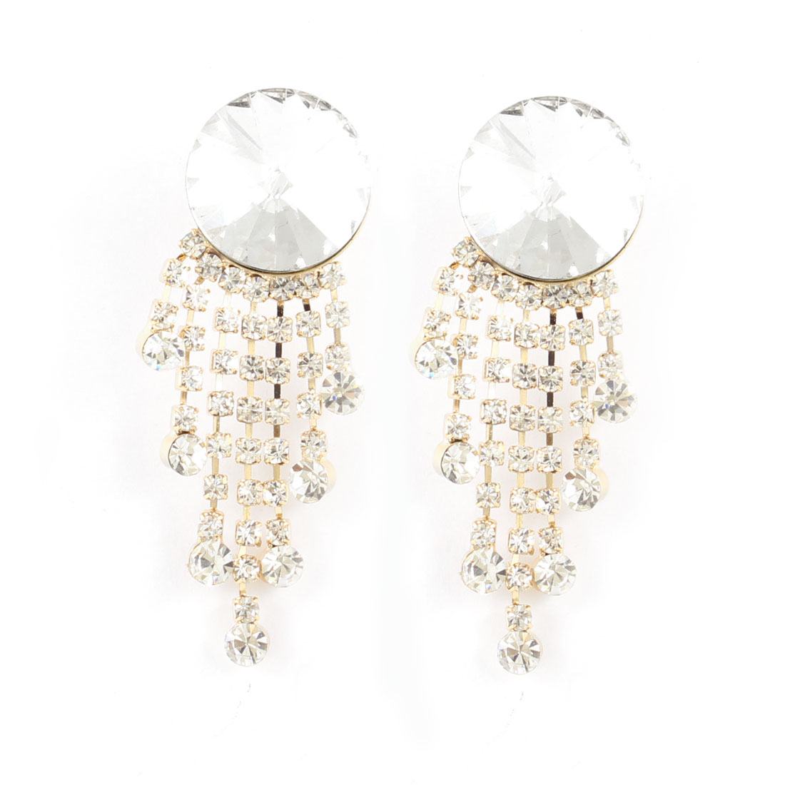 Pair Women Rhinestones Decor Dangle Ear Stud Earrings Sliver Tone