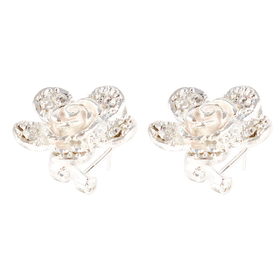 Pairs Women flower Shape Rhinestone Decor Petals Ear Stud Earring