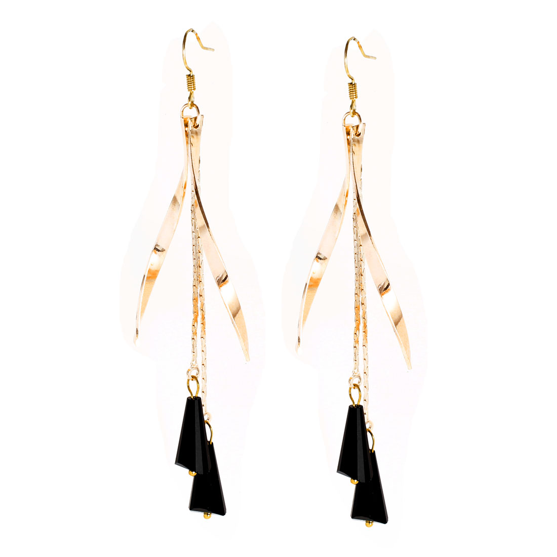 Black Conical Rhinestone Pendant Hook Earrings for Lady