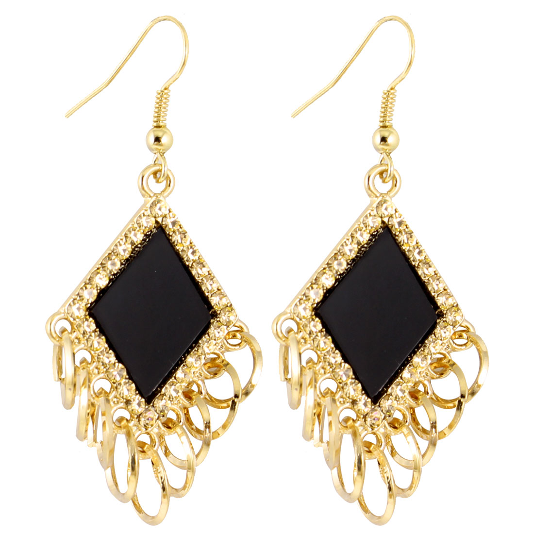 Pair Gold Tone Circles Pendant Black Fish Hook Earrings for Lady