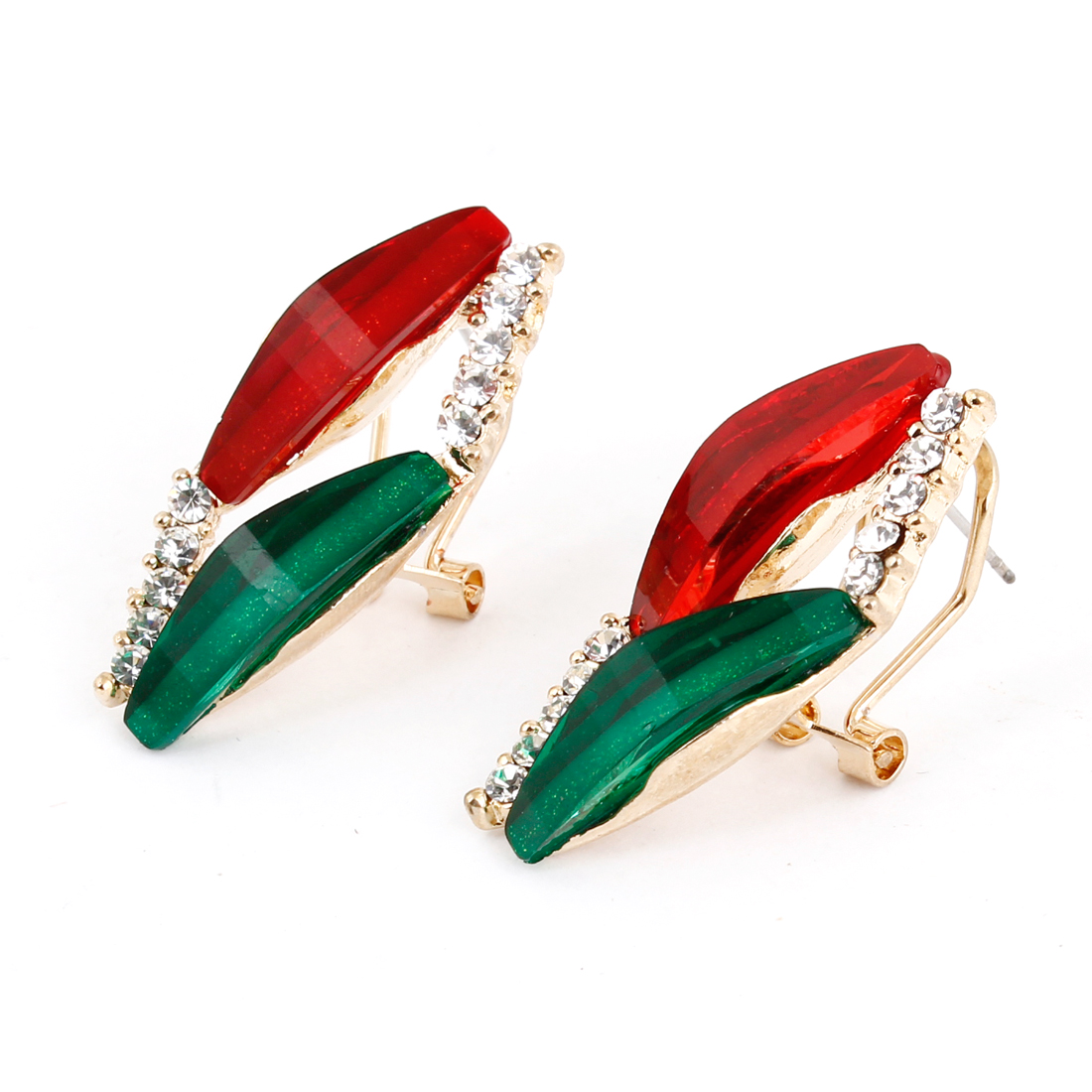Ladies Green Red Plastic Crystal Decor Pendant French Clip Earrings Pair