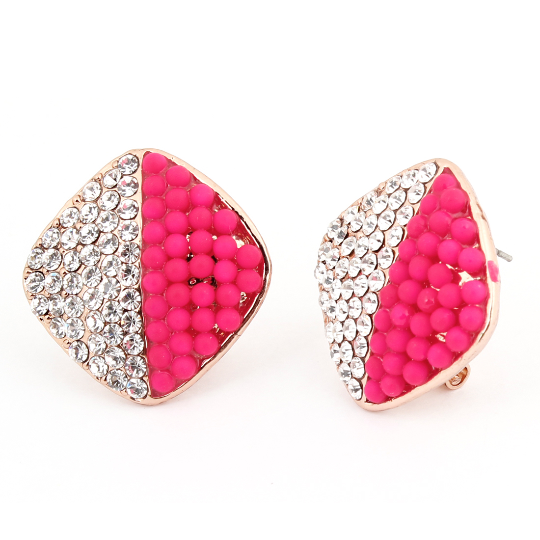Fuchsia Dots Decor Rhombic Pendant French Clip Earrings Pair for Ladies