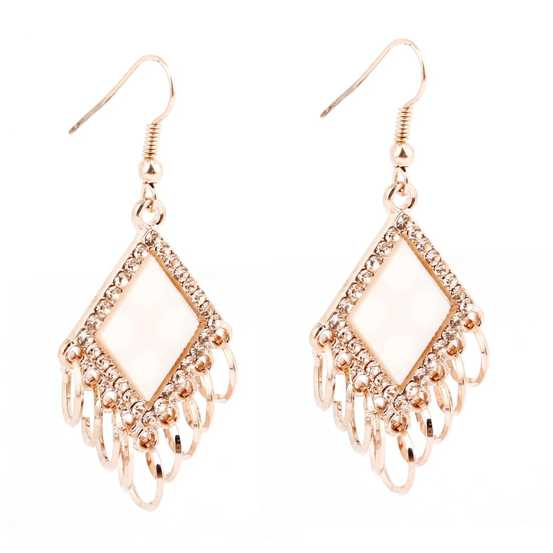 Women White Plastic Crystal Rhombus Dangle Pendant Fish Hook Earrings