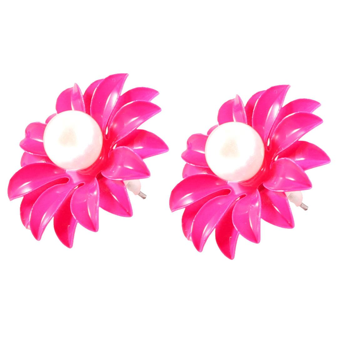 2 Pcs Fushia White Imitation pearl Design Studs Earrings for Ladies