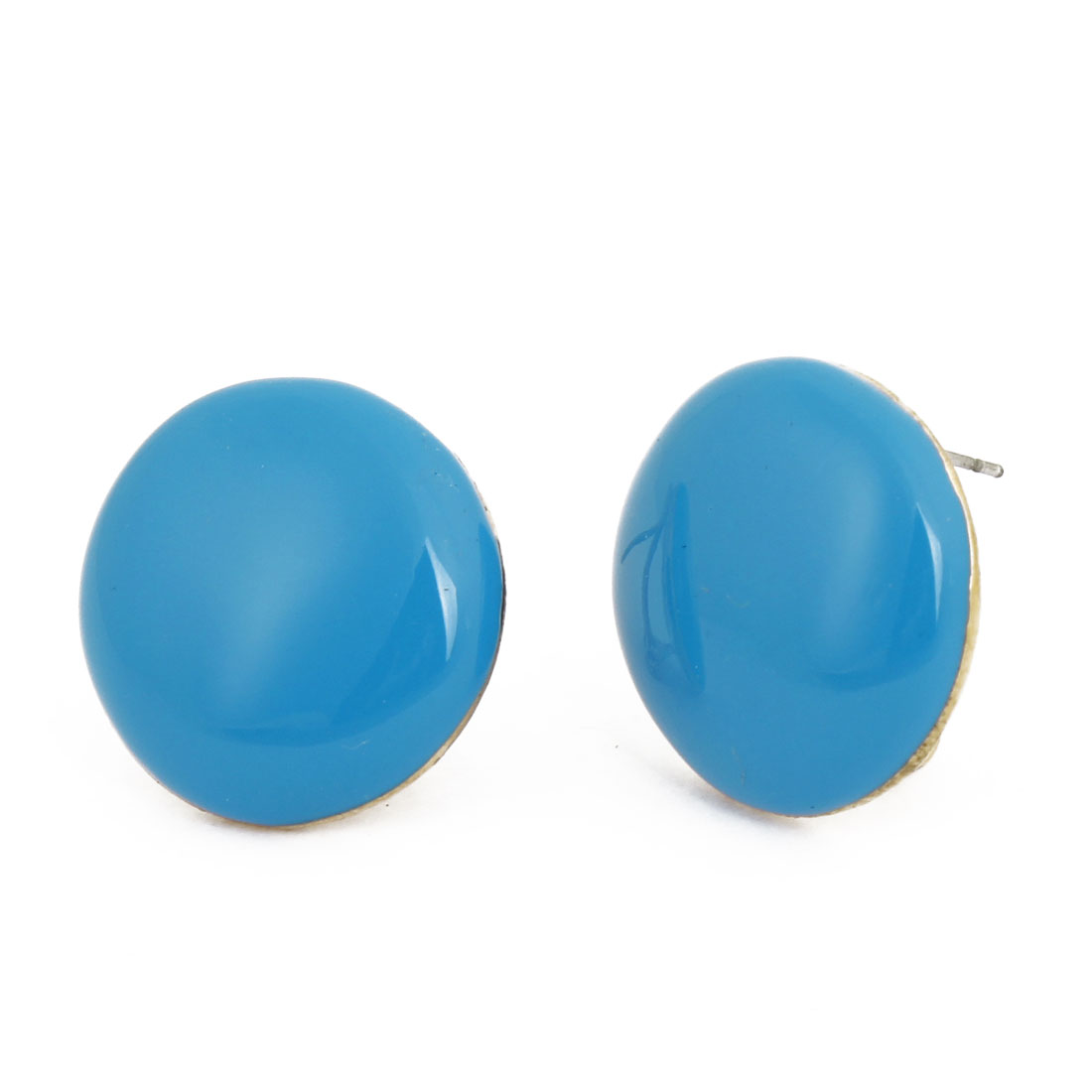 Blue Gold Tone Round Pendant French Clip Earrings Pair for Ladies