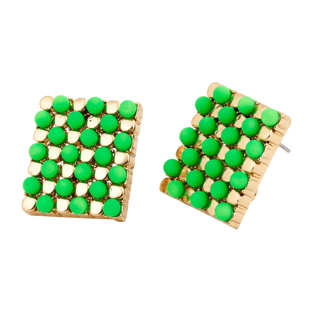 Ladies Green Dots Decor Square Pendant Metal French Clip Earrings Pair