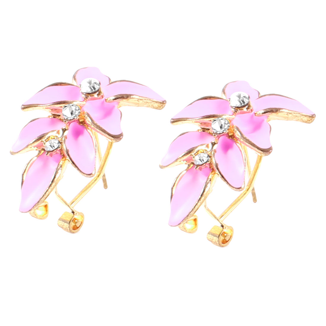 Ladies Rhinestone Gold Tone Pink Leaf Accent French Clip Earrings Pair