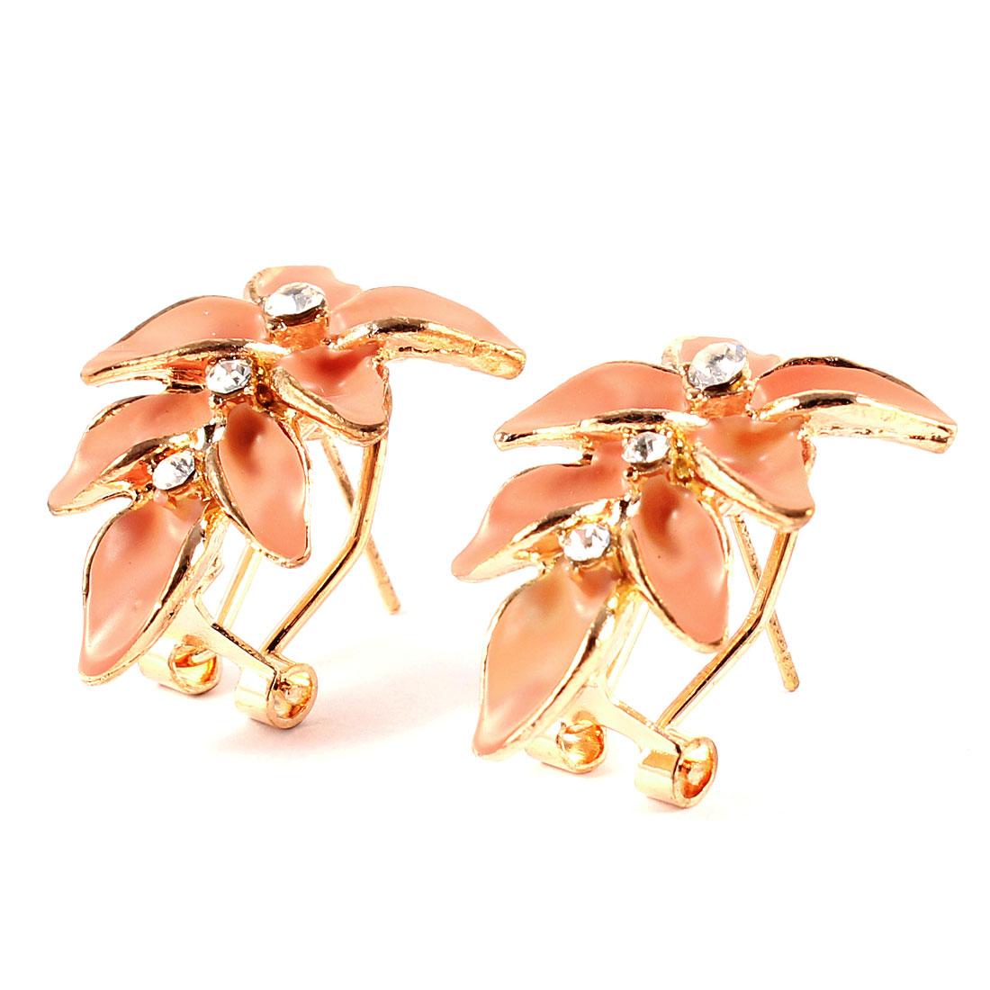 Peach Pink Flower Shape Rhinestones Decor Metal French Clip Stud Earrings Pair