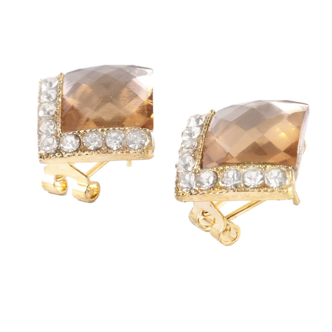 Pair Glittery Rhinestone Decor French Clip Stud Earrings for Lady