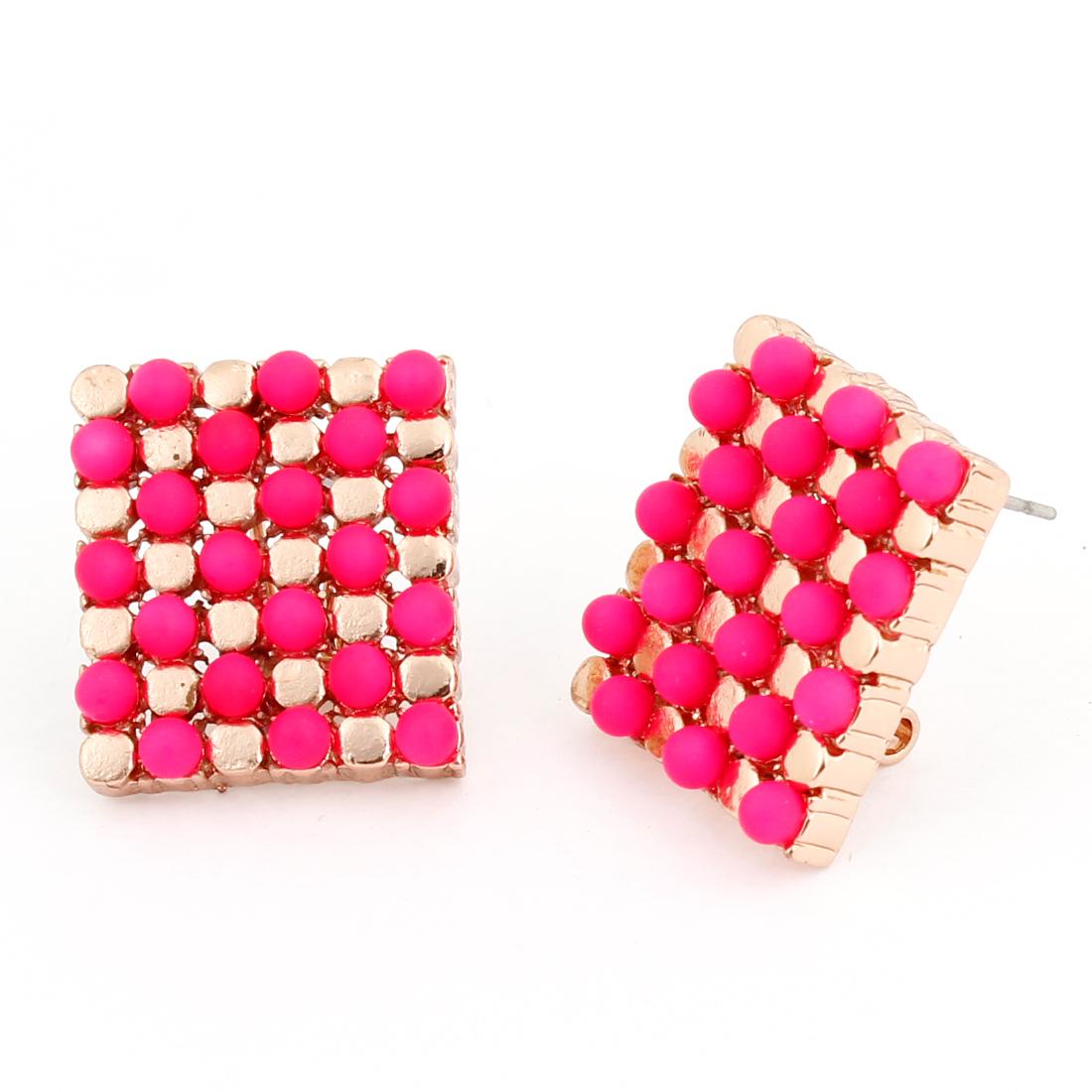 Pair Fuchsia Dots Decor Metal French Clip Earrings for Women