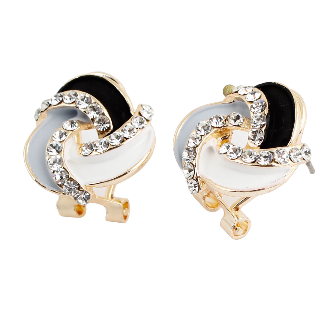 Pair White Black Pale Blue Pendant French Clip Earrings Earbob for Women