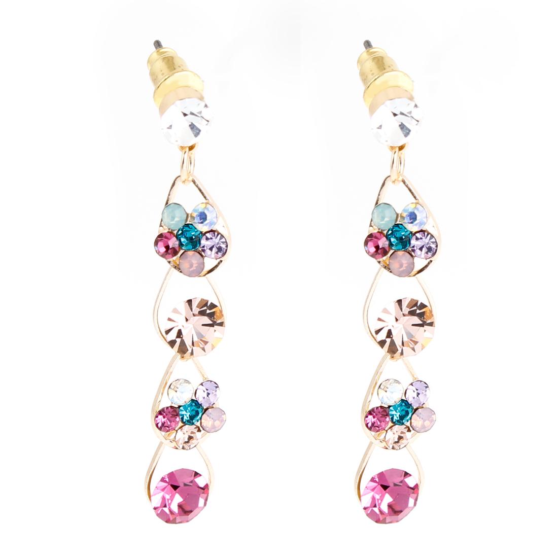 Rhinestone Inlaid Waterdrop Design Dangling Stud Earrings for Lady
