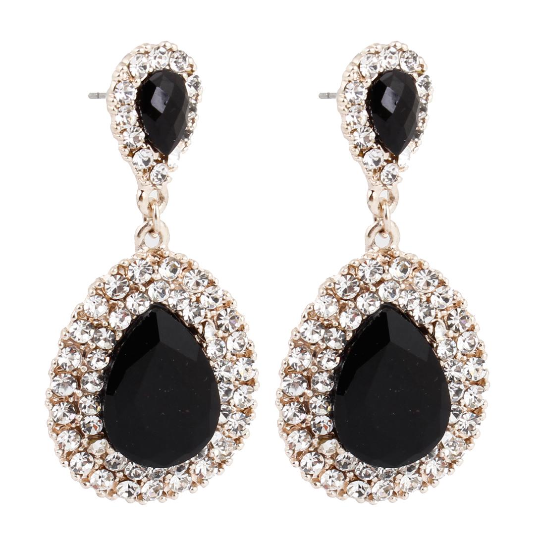 Pair Black Plastic Waterdrop Crystal Pendant Metal Stud Earrings for Women