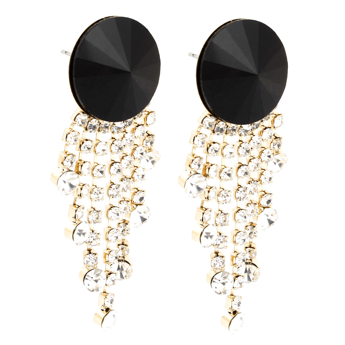Pair Rhinestone Inlaid Tassels Pendant Stud Earrings for Ladies