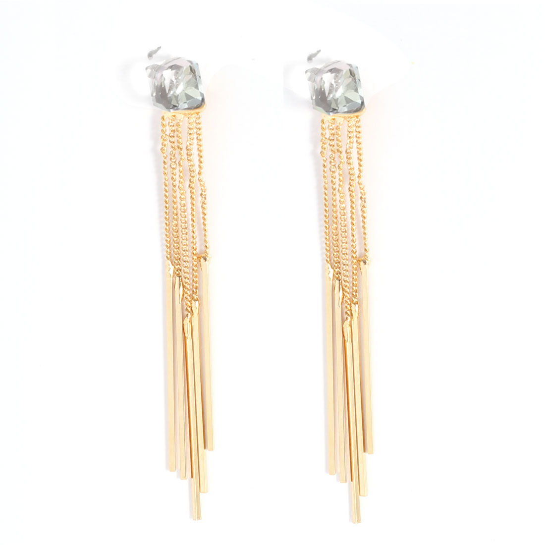 Gold Tone Linear Pendant Rhinestone Embellished Stud Earrings