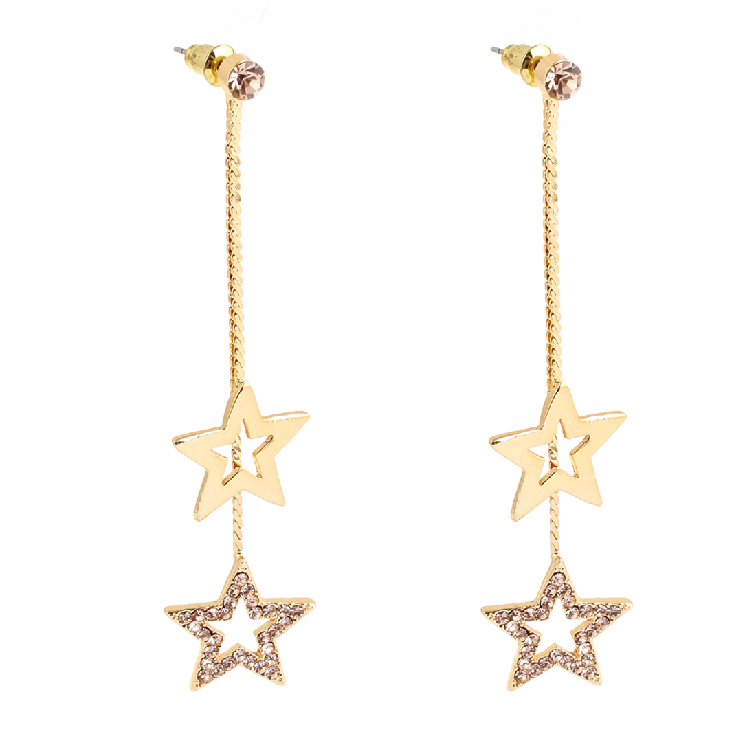 Ladies Rhinestone Inlaid Stars Pendant Fish Hook Earrings Gold Tone
