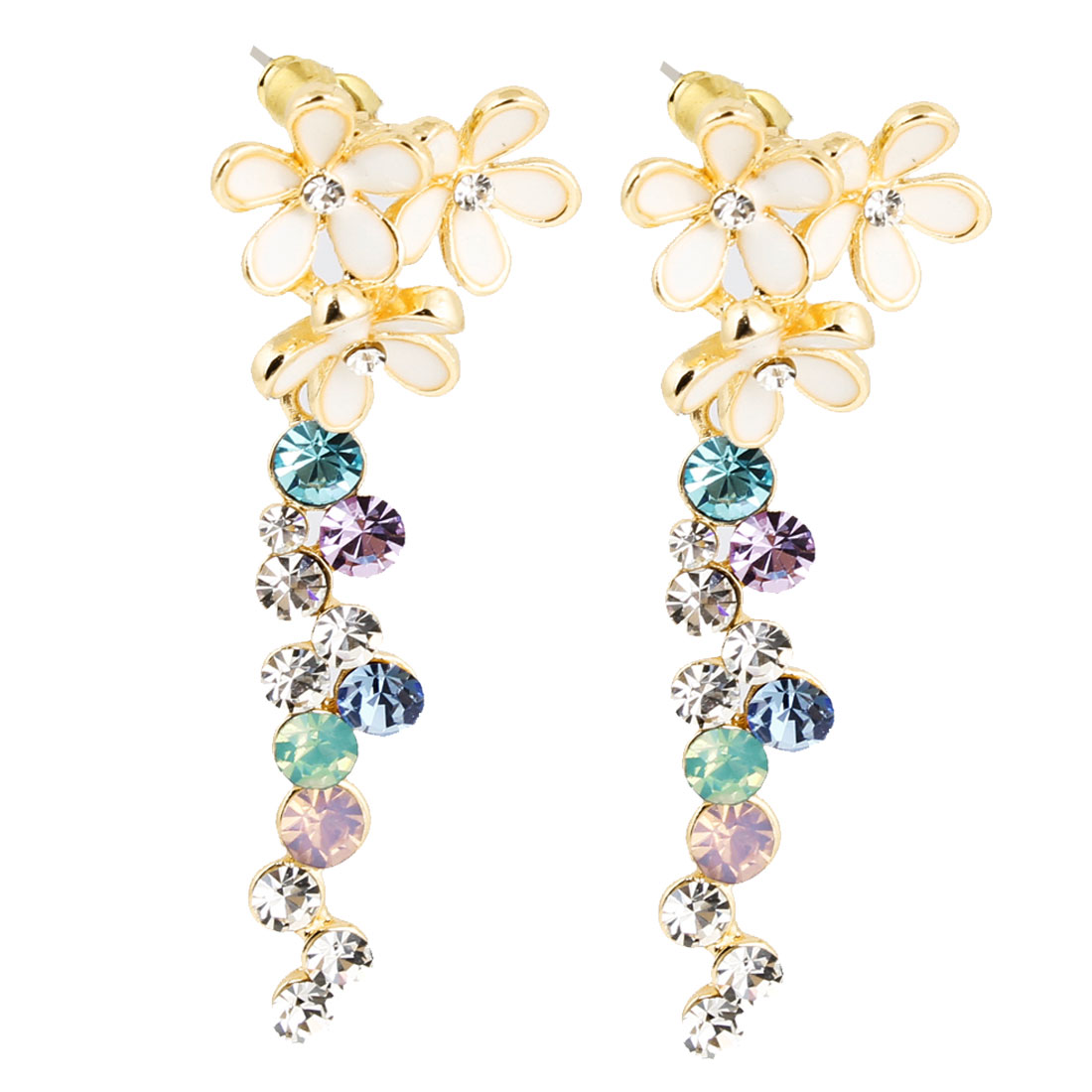 Ladies Colorful Rhinestone Inlaid Pendant Dangling Stud Earrings