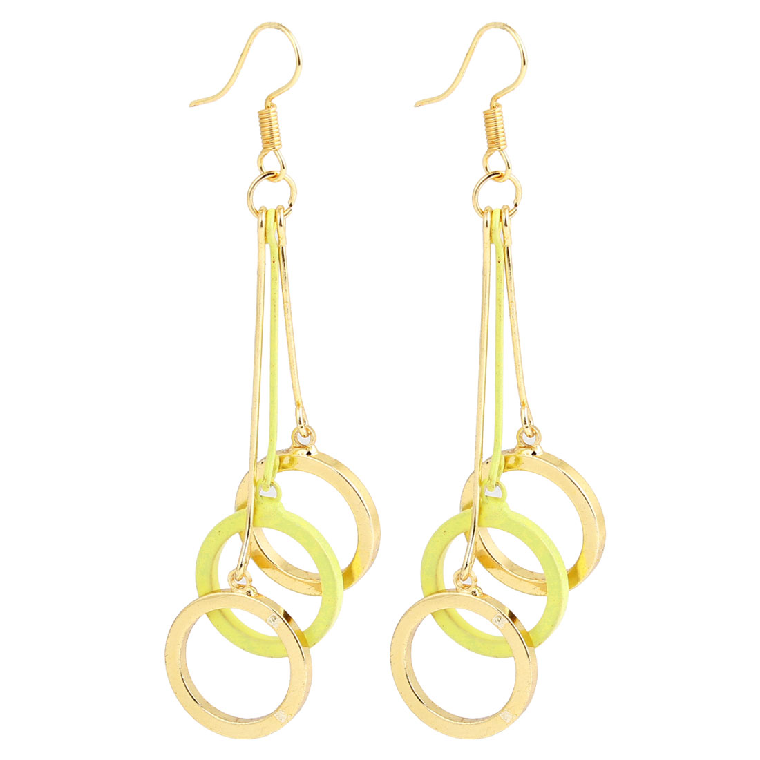 Gold Tone Yellow Round Circles Pendant Fish Hook Earrings for Women