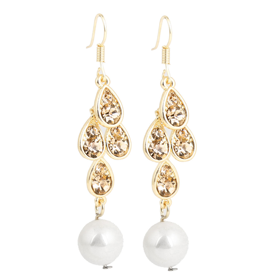 Plastic White Round Bead Decor Pendant Fish Hook Earrings for Women